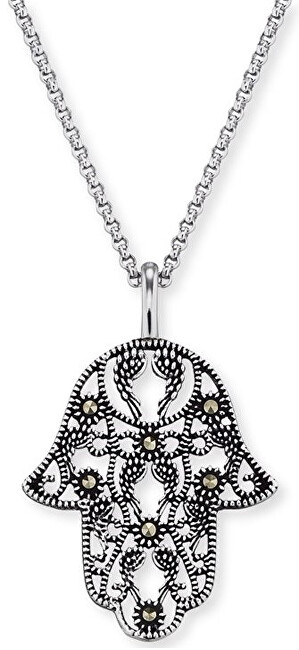 Engelsrufer Strieborný náhrdelník Ruka Fatimy s markazity ERN-LILHAND-MA