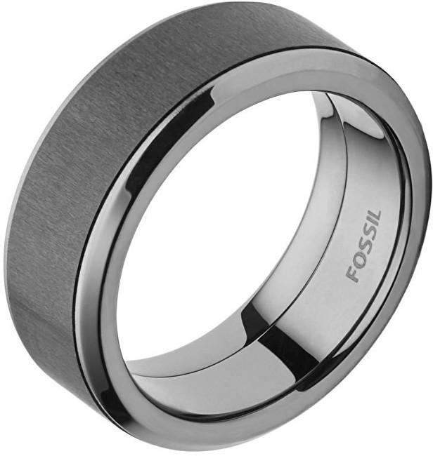 Fossil Pánský ocelový prsten s karbonem JF02368793 61 mm
