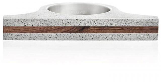 Gravelli Extravagantní betonový prsten Omega Wood GJRUWOG006 47 mm