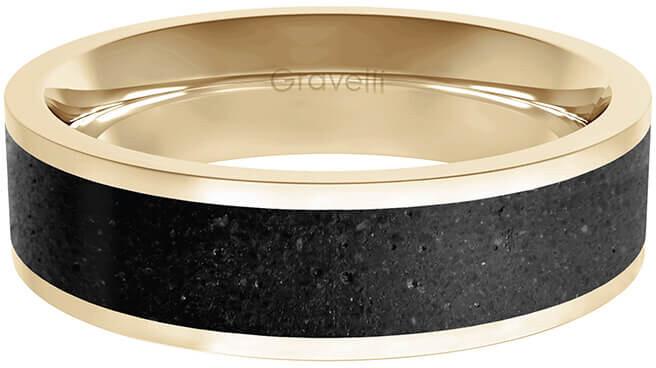 Gravelli Prsten s betonem Fusion Bold zlatá/antracitová GJYMRGA101 63 mm