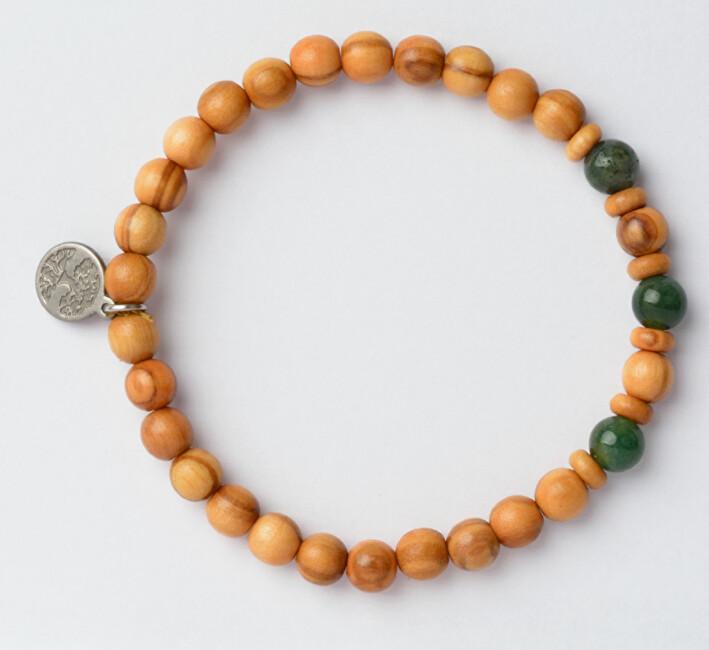 Green Time Náramek z dřevěných korálků a achátu ZWB222E