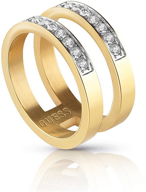 Guess Dvojitý pozlacený prsten s krystaly UBR78007 52 mm