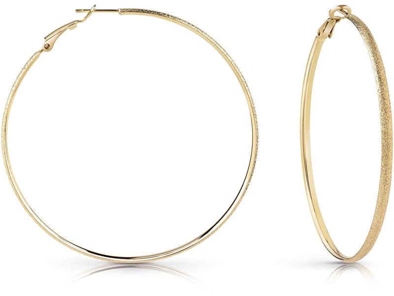 Guess Elegantní pozlacené náušnice kruhy UBE28091