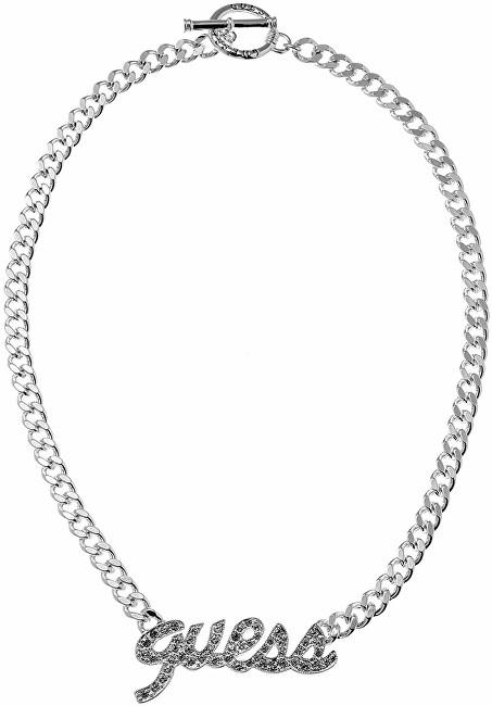 Guess Masívní náhrdelník s třpytivým nápisem UBN10704