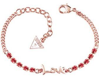 Guess Náramek s nápisem a růžovými krystaly UBB61009-S