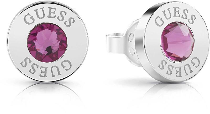 Guess Náušnice pecky s fialovým krystalem UBE78100