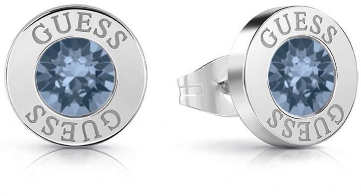 Guess Náušnice pecky s modrým krystalem UBE78091 Guess
