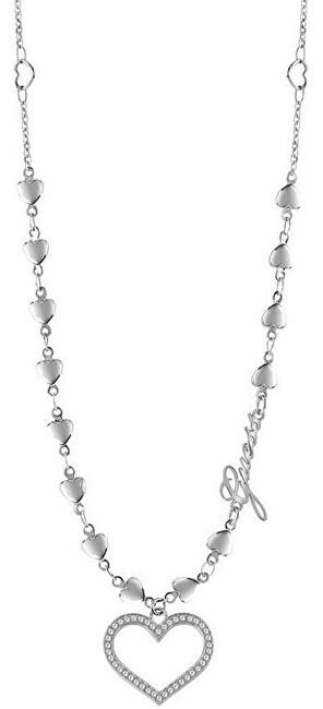 Guess Oceľový srdiečkový náhrdelník UBN28003
