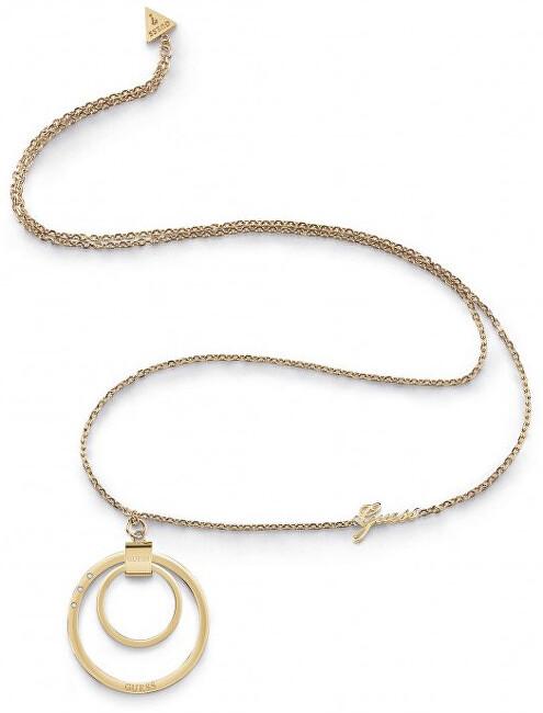 Guess Pozlacený náhrdelník s výrazným přívěskem UBN29031