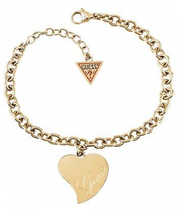 Guess Pozlacený náramek s velkým srdcem UBB28095-S