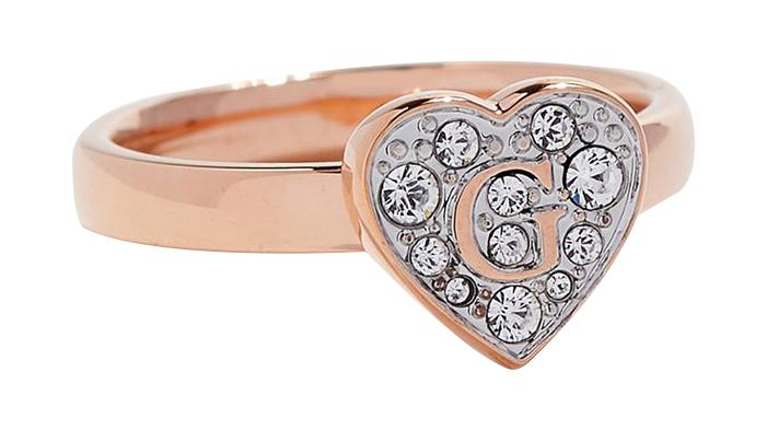 Guess Romantický prsteň s trblietavým srdcom UBR79030