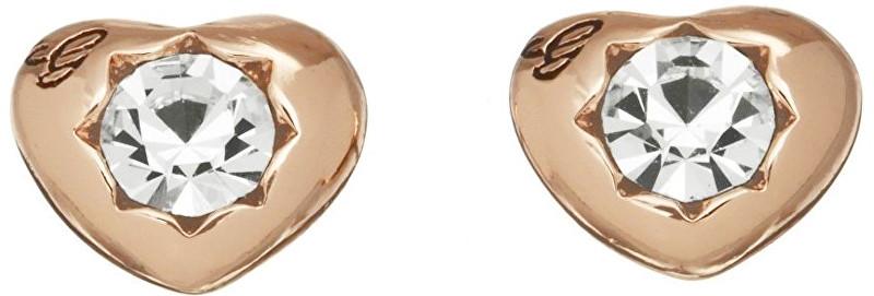 Guess Růžově pozlacené náušnice srdíčka s krystaly UBE51417
