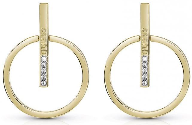 Guess Trendy pozlacené náušnice s krystaly UBE84100