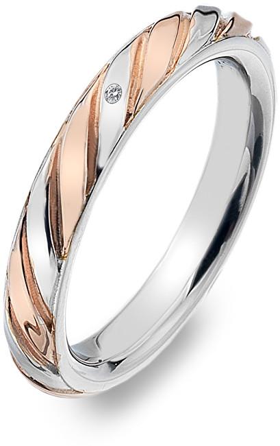 Hot Diamonds Bicolor prsten s diamantem Breeze DR177 54 mm