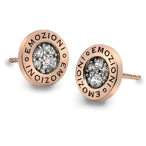 Hot Diamonds Strieborné náušnice Hot Diamonds Emozioni Pianeta Rose Gold DE403