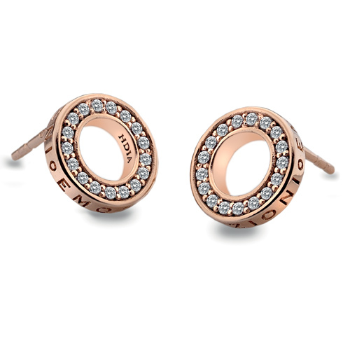 Hot Diamonds Strieborné náušnice Hot Diamonds Emozioni Saturno Rose Gold DE409