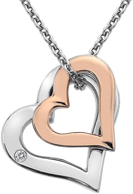 Hot Diamonds Strieborný náhrdelník s diamantom Glide Double Heart Rose DP623 (retiazka, prívesok)
