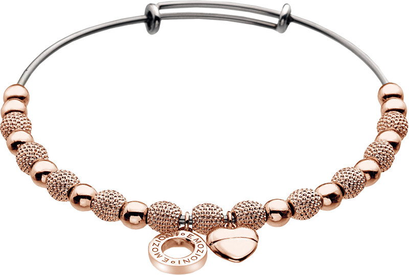 Hot Diamonds Oceľový náramok Emozioni Rose Gold Ula Bangle DC098