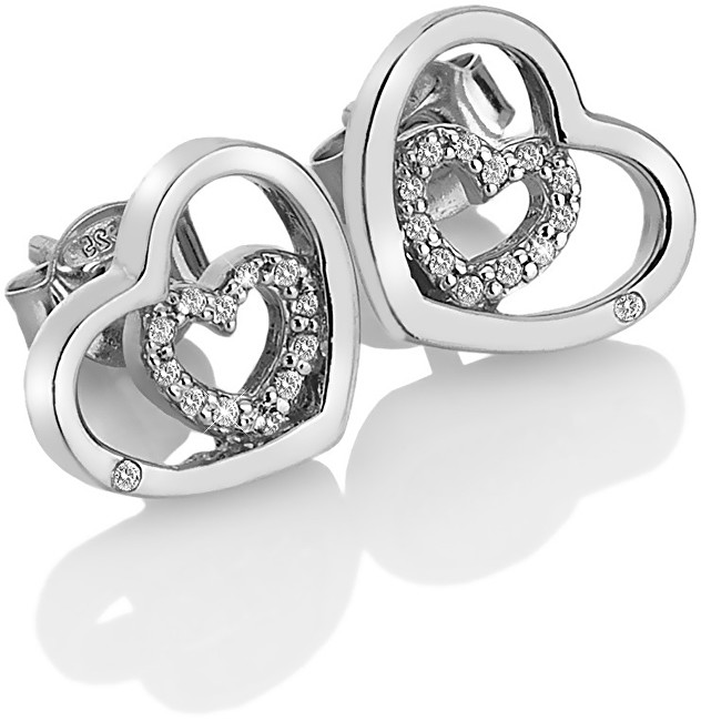 Hot Diamonds Stříbrné srdíčkové náušnice Adorable Encased DE548