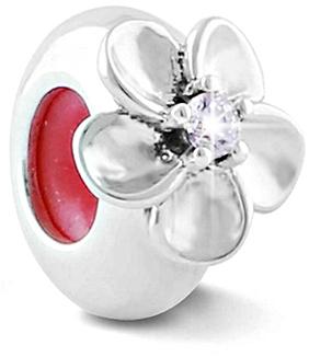 Infinity Love Stříbrný korálek brzdička s květem HSZ-1227-D