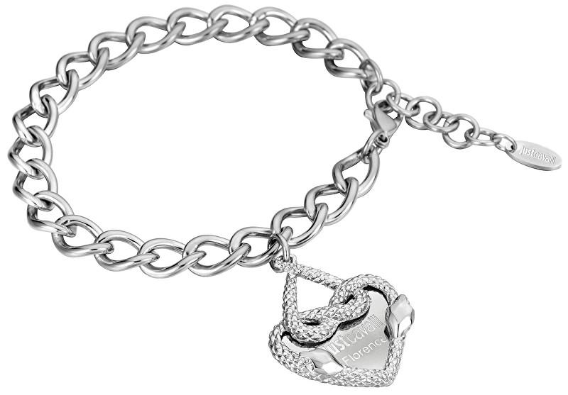 Just Cavalli Ocelový náramek se srdcem JCBR00090100