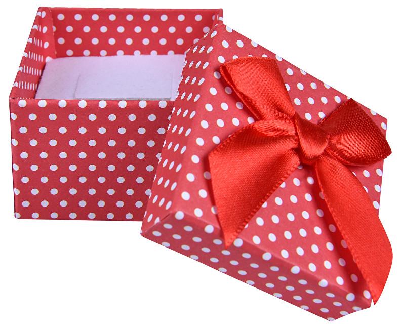 JK Box Červená puntíkatá krabička na náušnice nebo prsten KK-3/A7