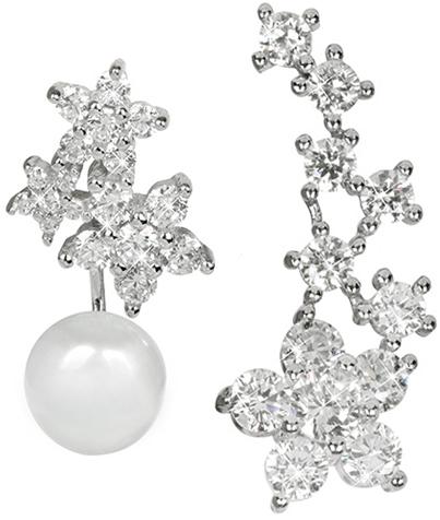 JwL Luxury Pearls Asymetrické náušnice - dvojnáušnice s pravou bílou perlou a záušnice se zirkony JL0260