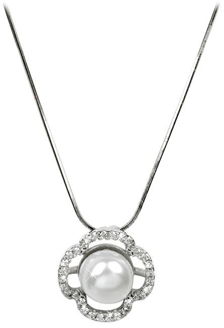 JwL Luxury Pearls Elegantní náhrdelník s perlou a krystaly JL0177