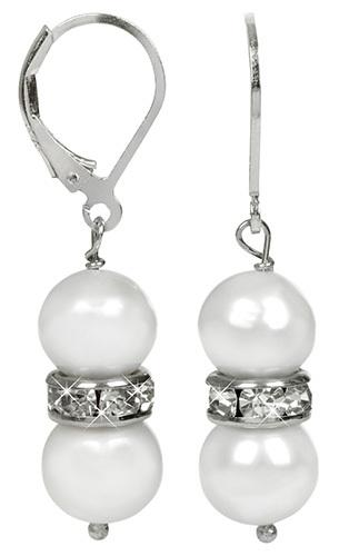 JwL Luxury Pearls Elegantní náušnice s pravými bílými perlami a krystaly JL0278