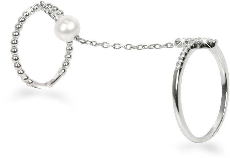 JwL Luxury Pearls Exkluzivní dvojprsten s perlou a křížkem JL0179 56 mm