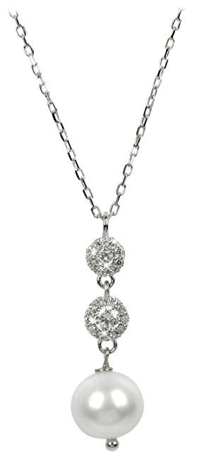 JwL Luxury Pearls Jemný náhrdelník s perlou a krystaly JL0183
