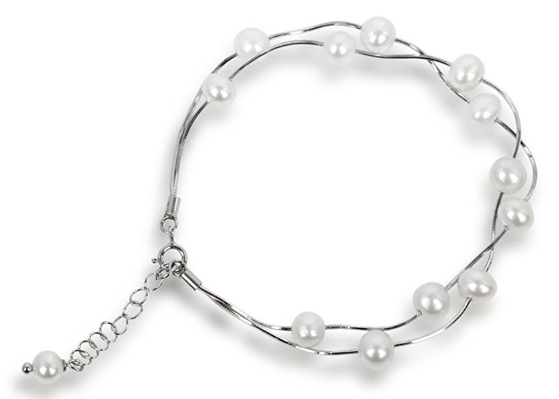 JwL Luxury Pearls Jemný náramek z pravých bílých perel JL0174