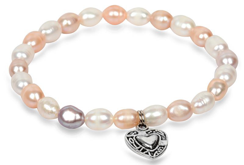 8ae7d16b2 JwL Luxury Pearls Jemný náramok z pravých perál s kovovým srdiečkom JL0293