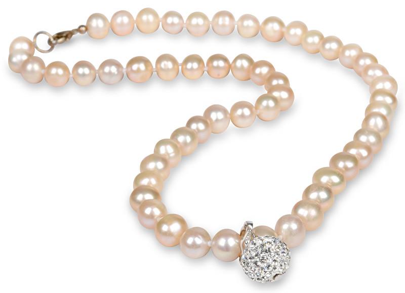 JwL Luxury Pearls Náhrdelník z pravých perel lososové barvy JL0085