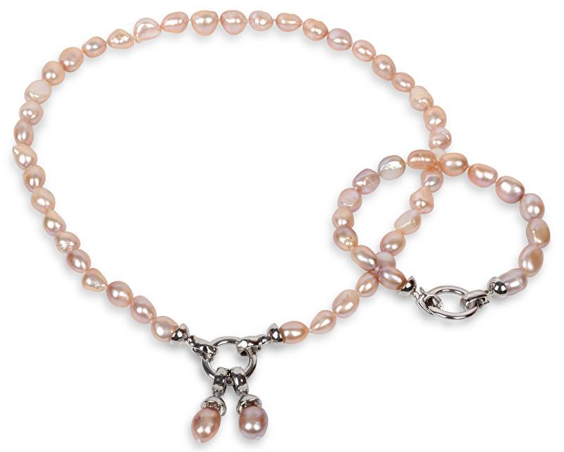 JwL Luxury Pearls Souprava náhrdelníku a náramku z pravých růžových perel JL0130