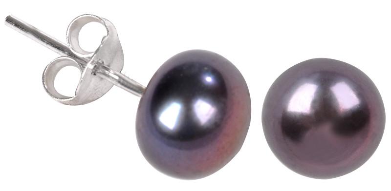 JwL Luxury Pearls Náušnice z pravých kovově modrých perel JL0028