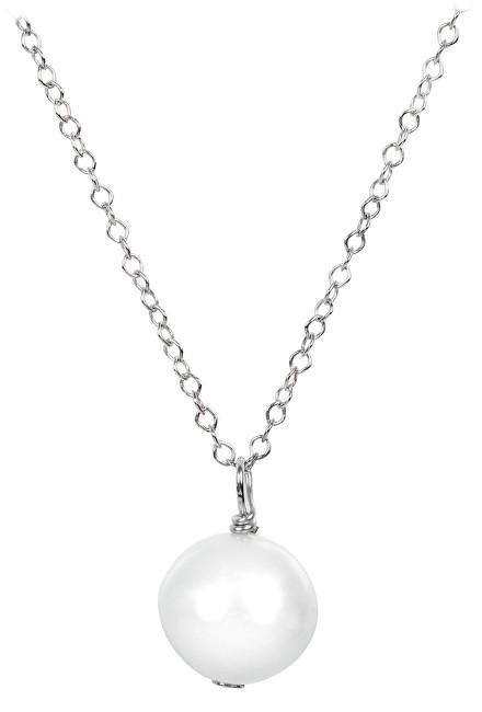 JwL Luxury Pearls Pravá perla bílé barvy na stříbrném řetízku JL0087 (řetízek, přívěsek)