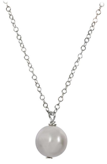 JwL Luxury Pearls Pravá perla šedé barvy na stříbrném řetízku JL0089