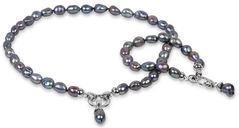 JwL Luxury Pearls Souprava náhrdelníku a náramku z pravých kovově modrých perel JL0133