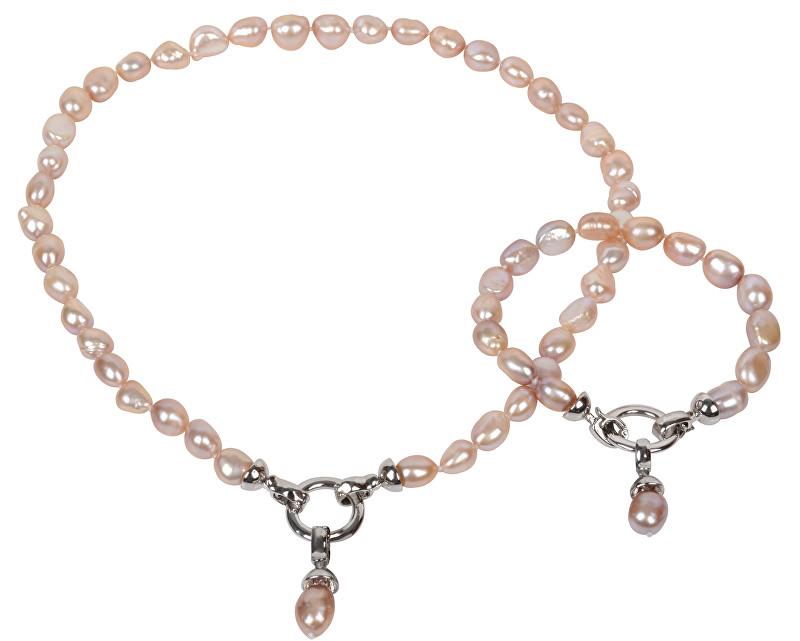 Souprava náhrdelníku a náramku JwL Luxury z pravých růžových perel JL0130
