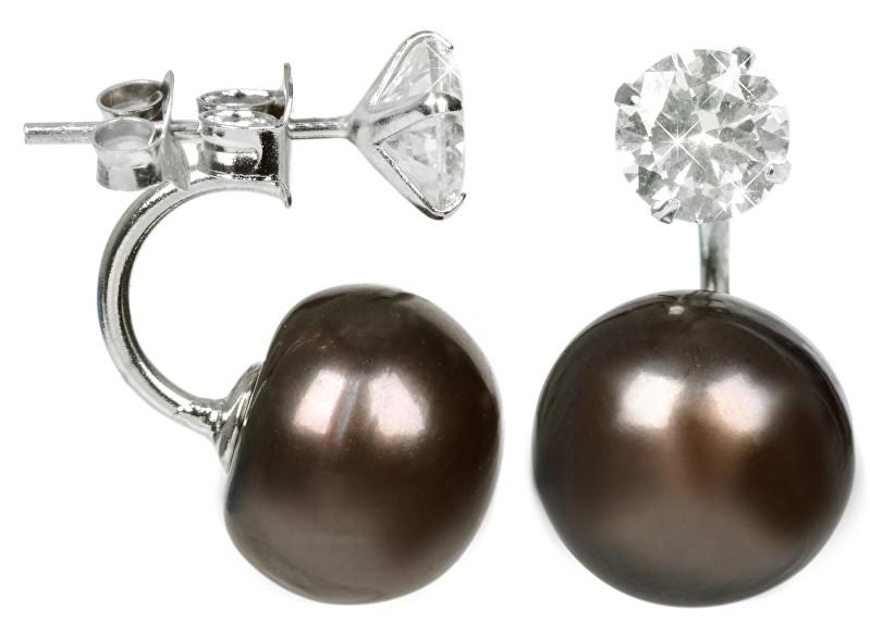 JwL Luxury Pearls Stříbrné dvojnáušnice s pravou hnědou perlou a krystalem JL0217
