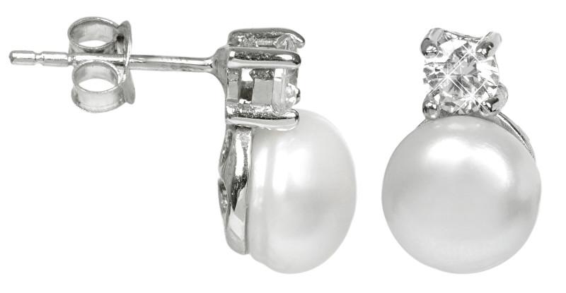 JwL Luxury Pearls Stříbrné náušnice s perlou a krystalem JL0196