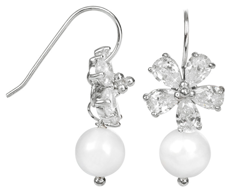 JwL Luxury Pearls Stříbrné náušnice s pravou bílou perlou JL0093