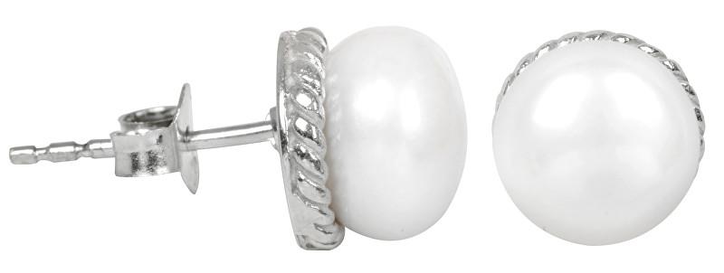JwL Luxury Pearls Stříbrné náušnice s pravou bílou perlou JL0185