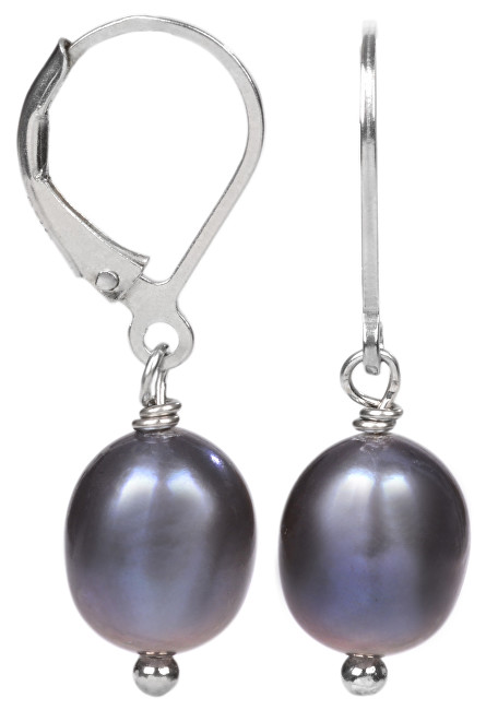 JwL Luxury Pearls Stříbrné náušnice s pravou kovově modrou perlou JL0147