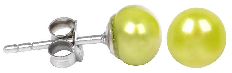 JwL Luxury Pearls Stříbrné náušnice s pravou zelenou perlou JL0219
