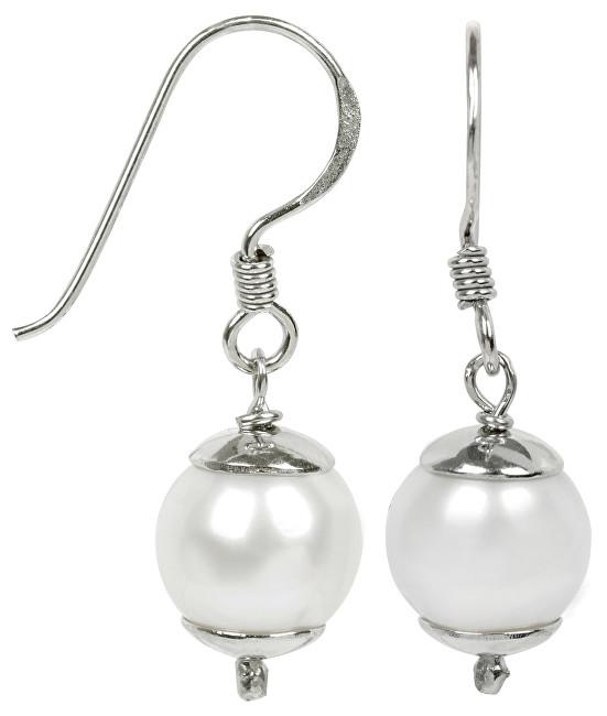 JwL Luxury Pearls Stříbrné visací náušnice s bílou perlou JL0237
