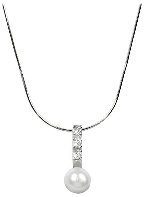JwL Luxury Pearls Stříbrný náhrdelník s perlou a krystaly JL0193