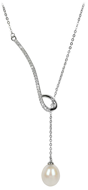 JwL Luxury Pearls Stříbrný provlékací náhrdelník s bílou perlou a zirkony JL0241
