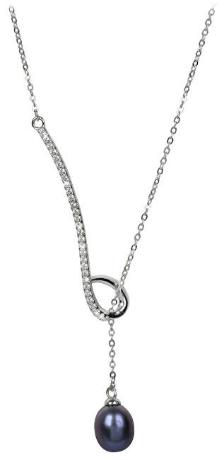 JwL Luxury Pearls Stříbrný provlékací náhrdelník s kovově modrou perlou a zirkony JL0242